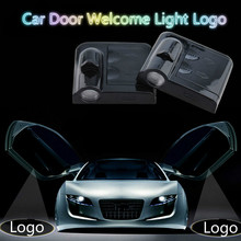 JURUS Wireless 2x LED Door Logo Welcome Light Laser Shadow Projector Logo Case For Mazda For Peugeot rcz For Chrysler Car Lights
