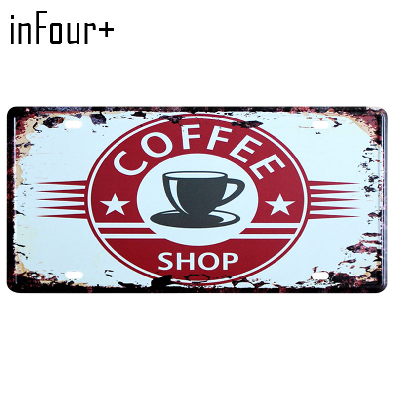 [inFour+] Hot Coffee Shop Plate Metal Plate Car Number Tin Sign Bar Pub Cafe Home Decor Metal Sign Garage Painting Plaques Sign
