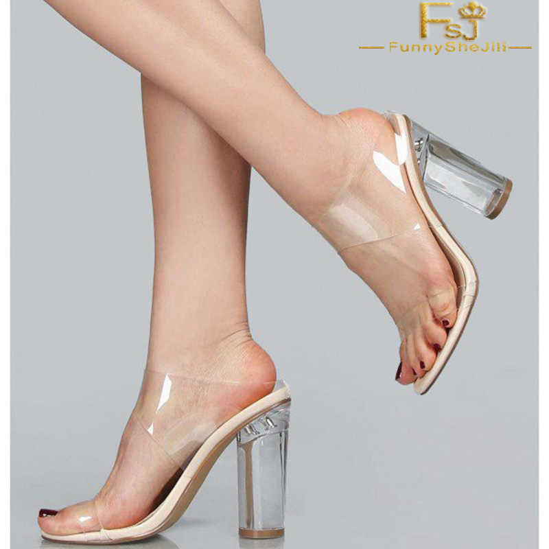 1a407d4af7 Summer Sexy Transparent Women's PVC Designer Shoes Clear Crystal Heels High  Slipper Open Toe Mule Comfortable