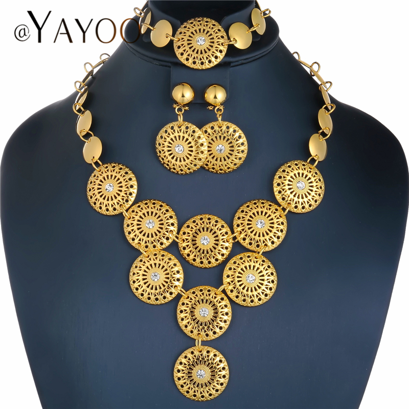 AYAYOO New Arrival Women Jewelry Set 2018 Gold Color Nigerian Wedding African Beads Jewelry Set Womens Fashion Jewellery