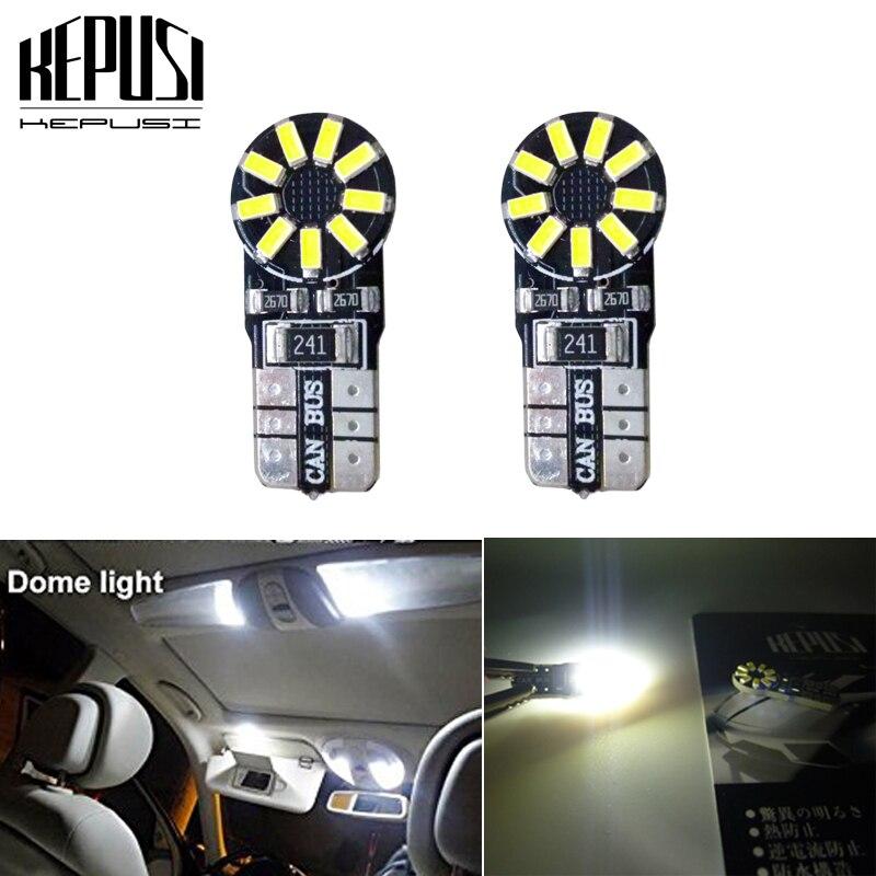 2x t10 led canbus T10 18led 3014 smd LED No OBC Error 194 168 W5W Interior Instrument Light bulb White