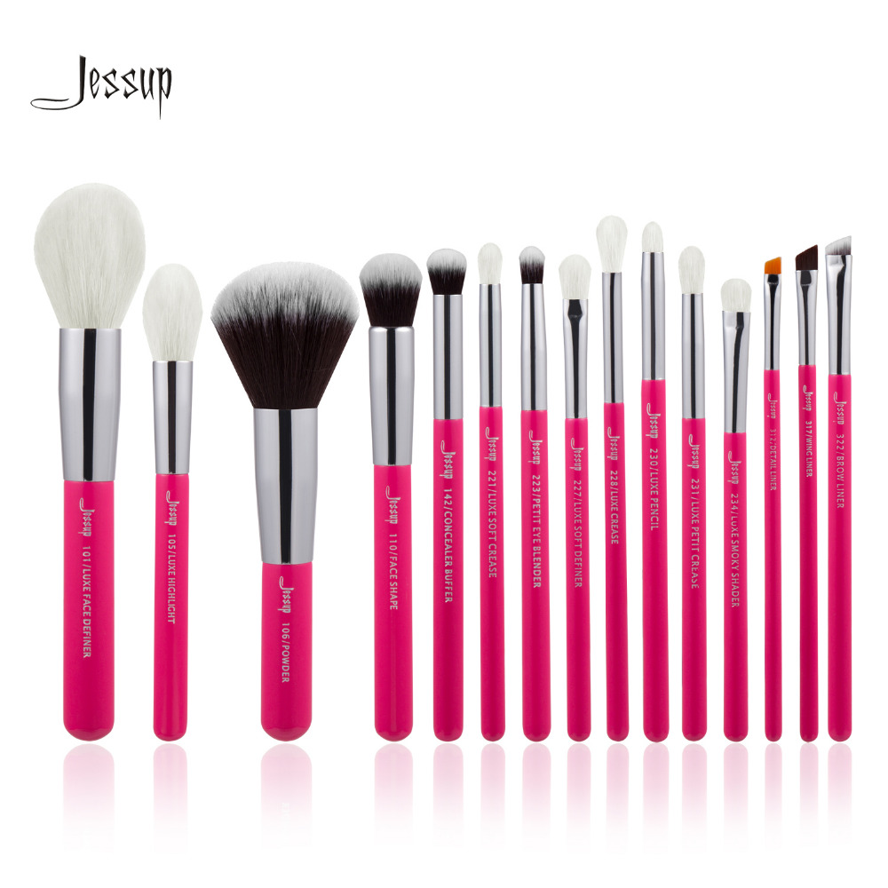 Jessup Rose-carmin/Silver Professional Makeup Brushes Set natural-synthetic hair Make up Brush Tool kit Foundation Powder Pencil 10pcs tooth brush shape oval makeup brush set multipurpose makeup brushes professional foundation powder brush kits make up tool