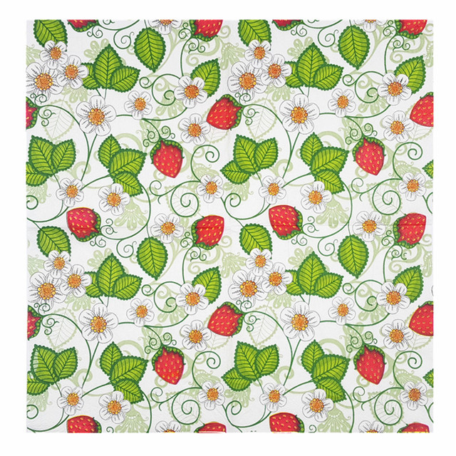 Paper Napkins Tissue Color Pattern Strawberry Blue Green Yellow Red New Strawberry Pattern