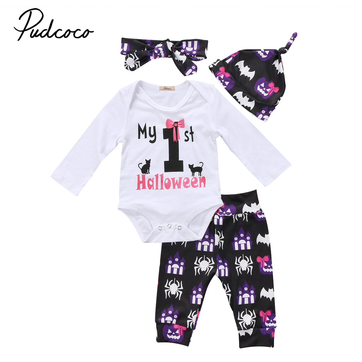 3pcs My First Halloween Newborn Kids Infant Baby Girls Clothes Long Sleeve Romper Jumpsuit Floral Pants Outfit Set цена
