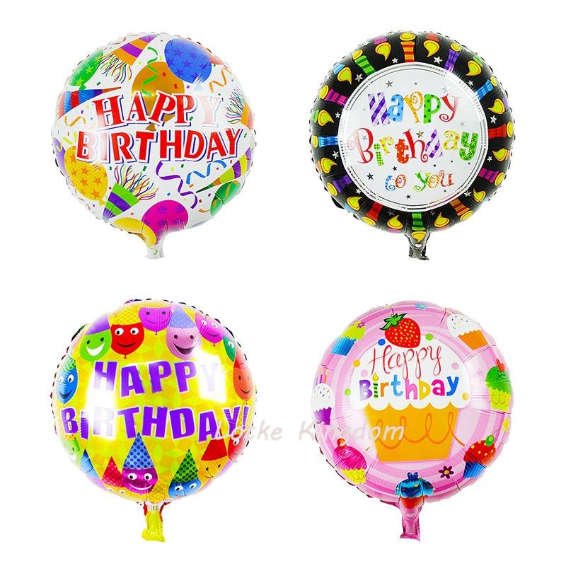 Lucky 50pcs/lot 45*45cm Round Happy Birthday Gift Balloon Foil Helium Balloons Party Decoration Globos Mylar Ballon Classic Toys Event & Party Home & Garden