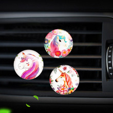 Unicorn style car air freshener perfume bottle diffuser  in the auto Air conditioner outlet vent Perfume clip