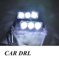High Quality 2PCS SET 6 LED 9W Universal Car Light Source Waterproof DC12V DRL High Power