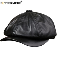 BUTTERMERE Genuine Leather Newsboy Cap Men Real Leather Winter Hat Black Brown Vintage Brand Octagonal Cap For Men Flat Cap