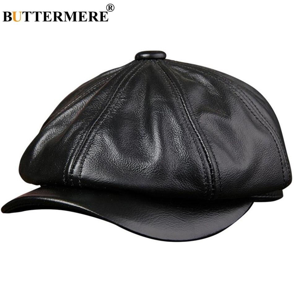 8de11752921f4 BUTTERMERE Genuine Leather Newsboy Cap Men Real Leather Winter Hat Black  Brown Vintage Brand Octagonal Cap