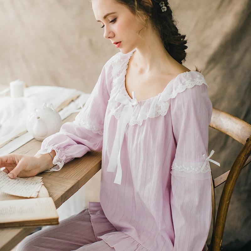2018 cotton   pajamas     set   spring autumn long sleeve trousers sleepwear lace bow Princess sexy pijama Womens Pyjamas Home Clothes