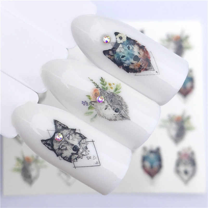 Fwc 1 Vel Nail Water Decals Fox/Wolf/Bloem/Gras Patroon Tranfer Sticker Nail Art Decoratie