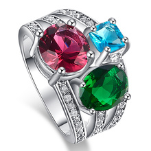 Jrose Jewelry Pink Tourmaline London Blue Topaz Emerald White CZ Diamond 18K White Gold Plated Fashion Ring for Women Wholesale