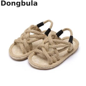 2019 sandales d'été en corde de chanvre pour enfants pour garçons filles chaussures romaines à fond souple enfants sandales à bout ouvert antidérapantes bébé chaussures décontractées