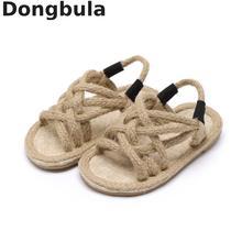 Сандалии с пеньковой веревкой для мальчиков и девочек, мягкая подошва, римская обувь, детские сандалии с открытым носком, нескользящая детская повседневная обувь, лето 2020