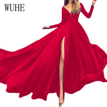 WUHE New Arrival Sexy V Neck Long Sleeve Big Swing Floor-length Dress Elegant Prom Party Gown Red Vestido De Festa Curto