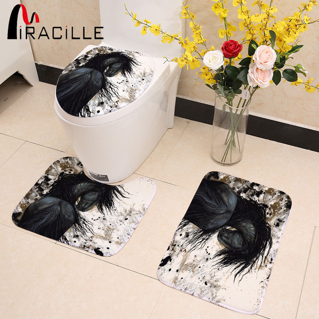 Miracille 3Pcs/set Winter Thick Warmer Washable Toilet Set Bath Mat Horse Print Seat Cover Anti Slip Bathroom Carpet Bath Decor