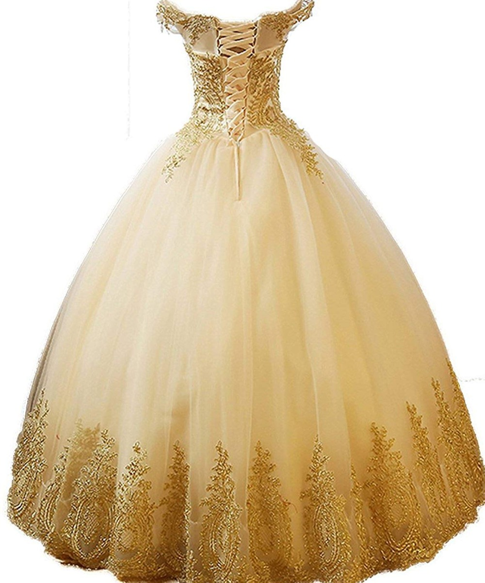 7dc764e86dca Aliexpress.com : Buy Off the Shoulder Dress Ball Gown Quinceanera dresses  Tulle Gold Lace Appliques Long Prom Formal Gowns Sweet 16 Dress G0134 from  ...