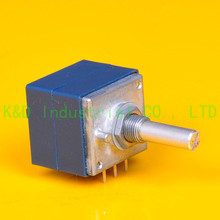 1pc DIY ALPS RK27 Original Audio Amp VOLUME Dual 100K Potentiometer Round shaft liulian with remote motor potentiometer 147t 100k 30 axle 3x8