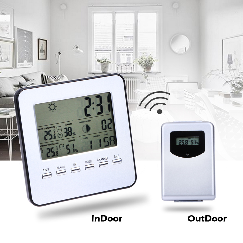 Digital Thermometer Wireless Weather Station Temperature Meter Hygrometer Indoor/Outdoor LCD Calendar Clock Alarm