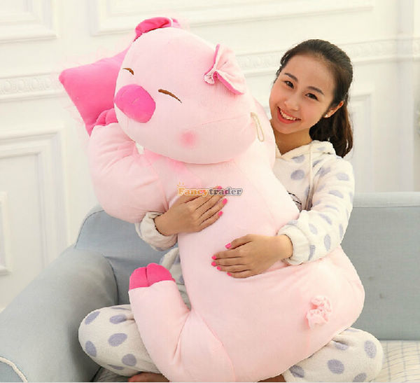 Fancytrader Cute Giant Large Stuffed Pink Pig Plush Animal Doll Toy 90cm  35inches 1pc Free Shipping stuffed animal 90 cm plush dolphin toy doll pink or blue colour great gift free shipping w166