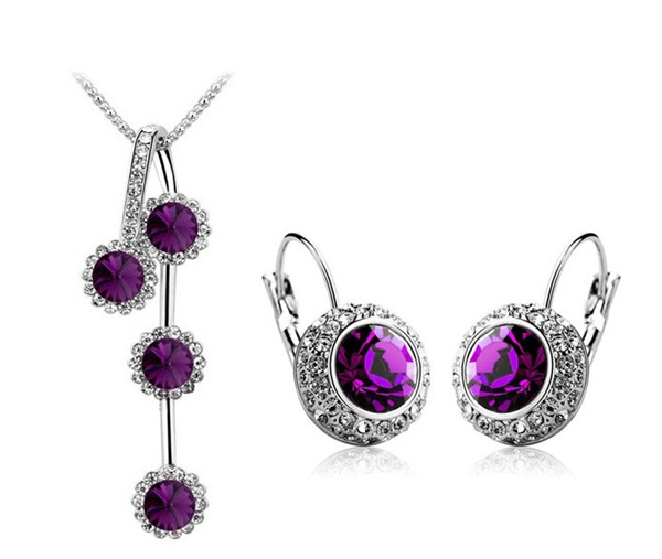 Wedding Crystal New Fashion Sets Silver Moon River Crystal Pendant Necklace + Earring Brincos Jewelry ...
