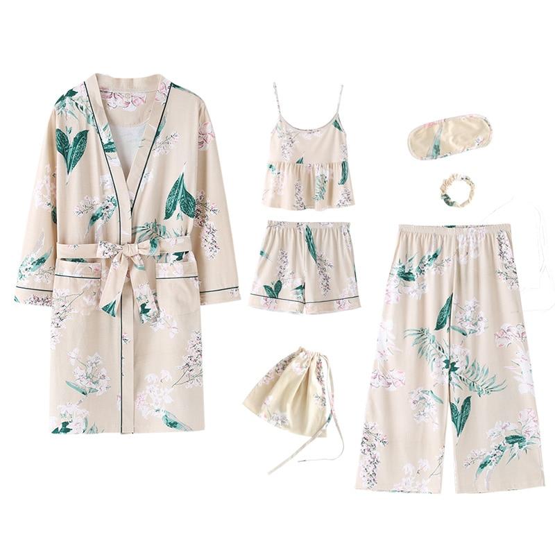 High quality cotton women s 7 pieces pajamas sets soft comfortable lingerie homewear sleepwear pyjamas set