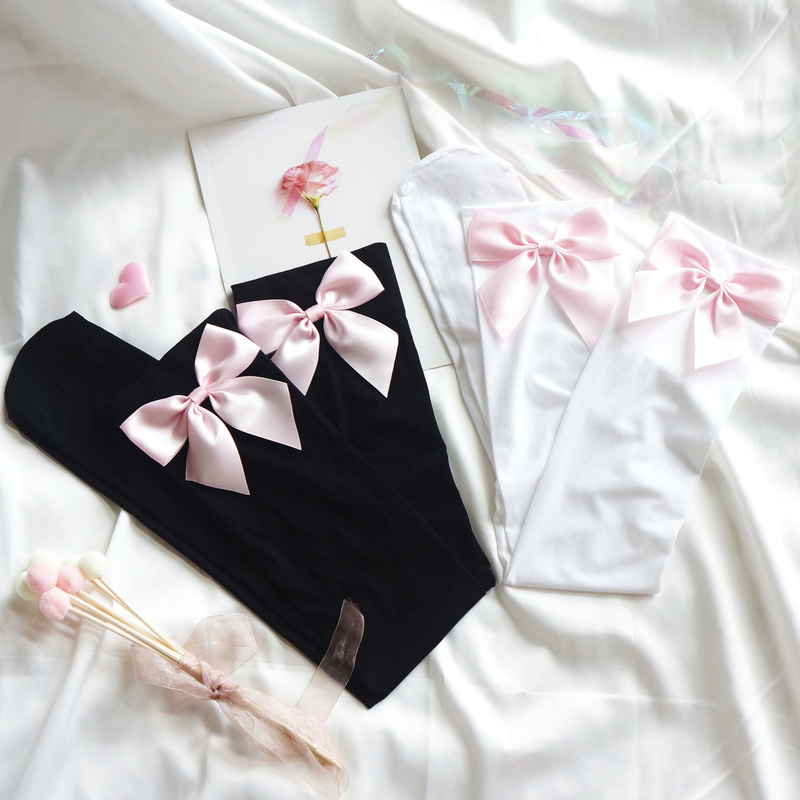 Kawaii Lolita Pink Bow handmade Knee Stockings