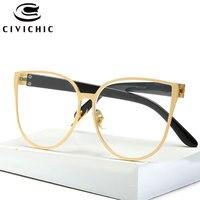 CIVICHIC New Plain Sunglasses Brand Designer Women Flat Glasses Men Sports Oculos Clear Lens Classic Optical