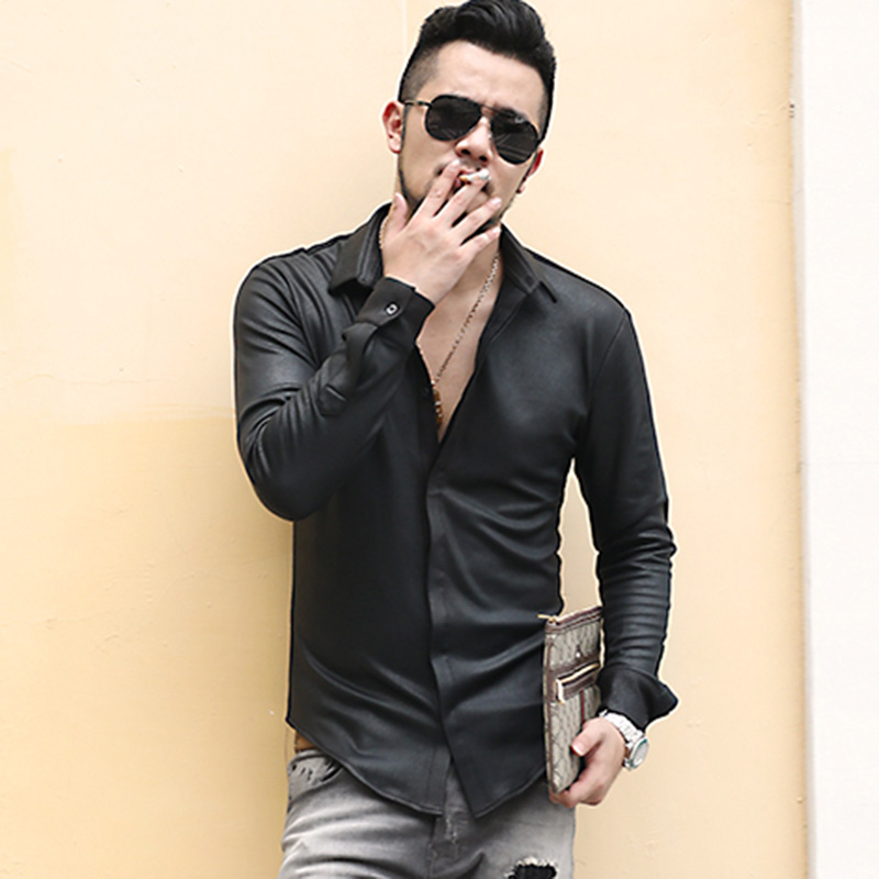 Men's British Style Retro Slim Elasticed Cotton Black Long Sleeve Shirt Men Thick Casual Fashion Brand Autumn Winter Shirts S890