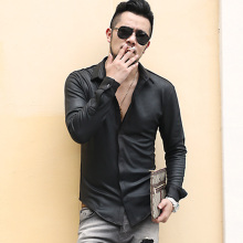 Mens British Style Retro Slim Elasticed Cotton Black Long Sleeve Shirt Men Thick Casual Fashion Brand Autumn Winter Shirts S890