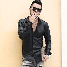 Men's British Style Retro Slim Elasticed Cotton Black Long Sleeve Shirt Men Thic