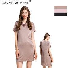 CAVME 100% Silk Nightgown Short Sleeve Underdress Sleepwear Sleepshirt Plus Size Homedress Solid Color Mini Nightshirt One Piece