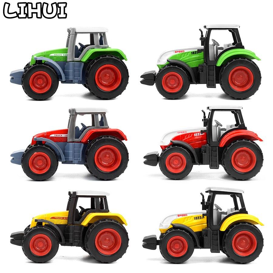 6 種類合金ファームトラックダイキャスト車エンジニアリングバントラクターモデルおもちゃ子供の教育玩具ミニ農民車ギフト Mobile LIHUI