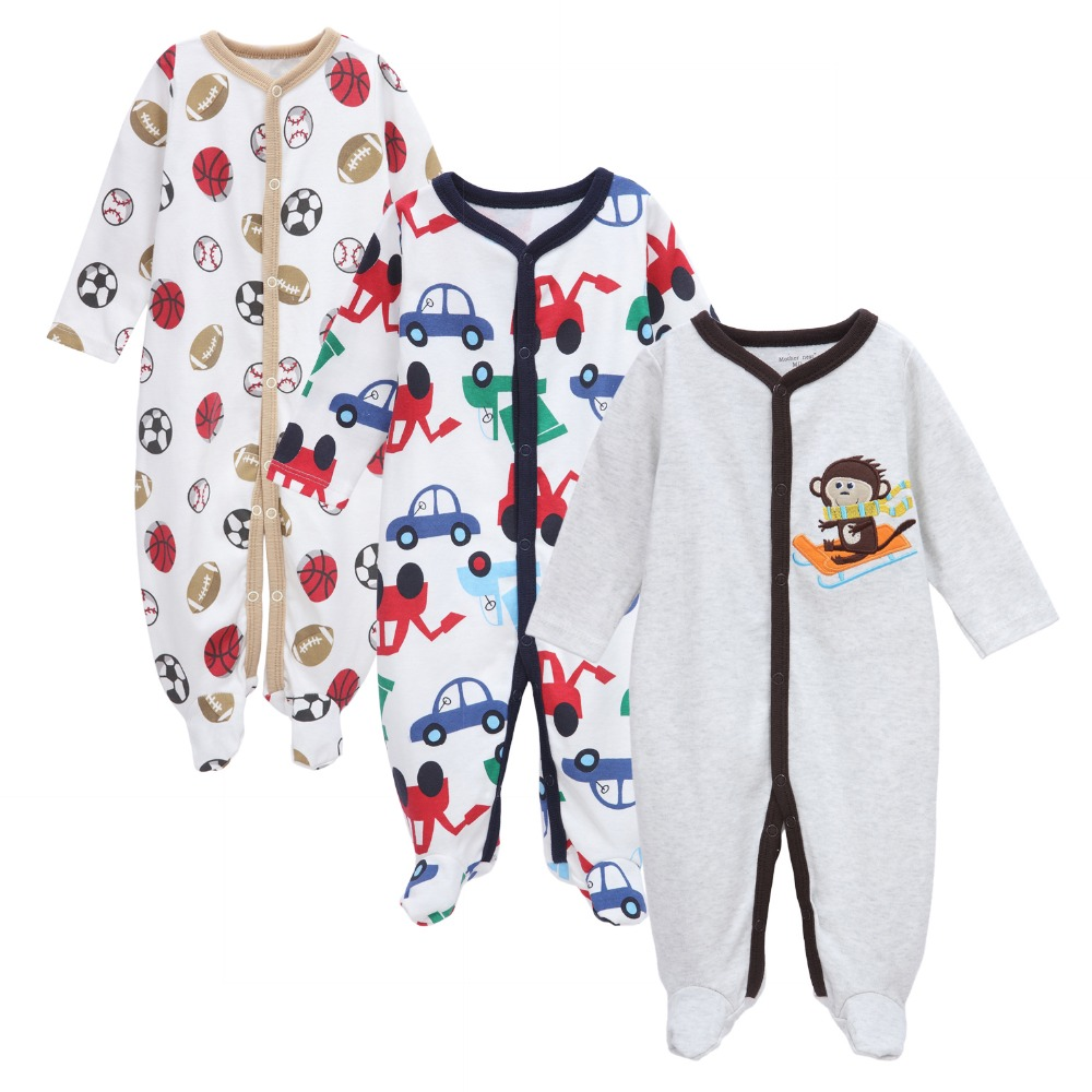 3PCS Lot Newborn Baby Rompers 0 12M Little Kids Long Sleeve Baby Infant Cartoon Jumpsuit Mother