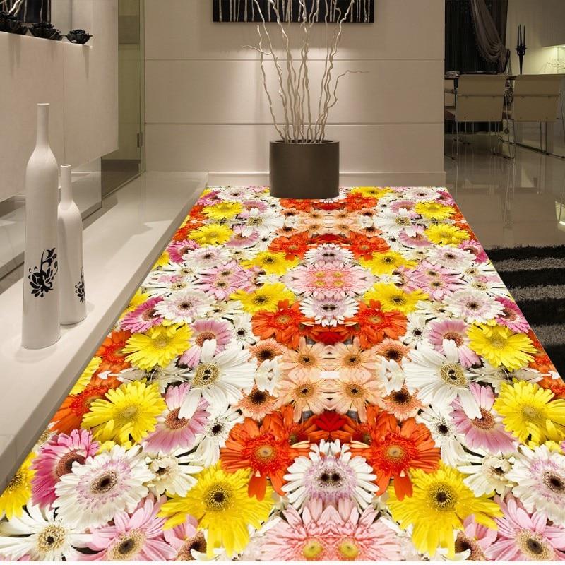 Free shipping Floral flower floor photo 3d flooring chinese style wear non-slip waterproof living room mural wallpaper телефон cisco uc phone 7821