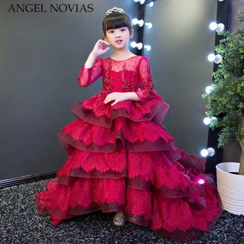 Angel Novias Long Burgundy Ruffled Lace   Flower     Girl     Dress   Pageant   Dresses   2018 Princess Lace Appliques Floor Length