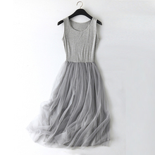 New Sexy Lace Vest Dress Women Sleeveless O-neck Loose Spaghetti Strap Spring Summer Dress Cotton Elegant Party Dresses BL1490
