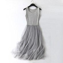 3cce99722f58ba New Sexy Lace Vest Dress Women Sleeveless O-neck Loose Spaghetti Strap  Spring Summer Dress Cotton Elegant Party Dresses BL1490