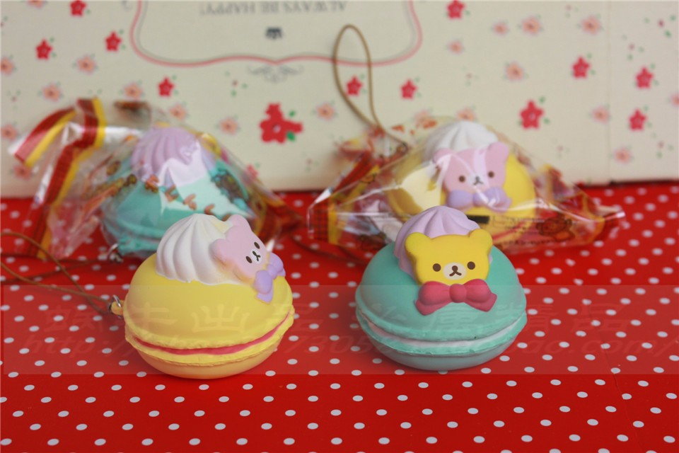 5 cm original kawaii squishy Rilakkuma Macaron kage queeze legetøj - Mobiltelefon tilbehør og reparation dele - Foto 2