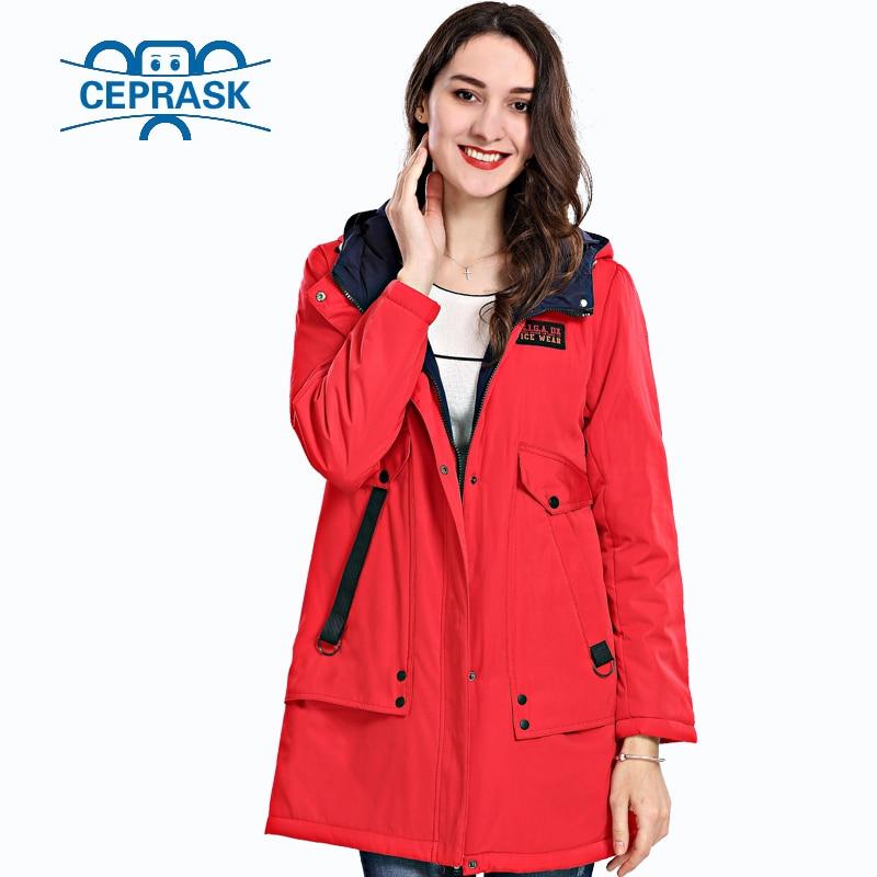 2018 Spring Autum New Women's Coat Windproof Thin Women   Parka   Long Plus Size Hooded Padded Warm Cotton Jackets CEPRASK Hot Sale