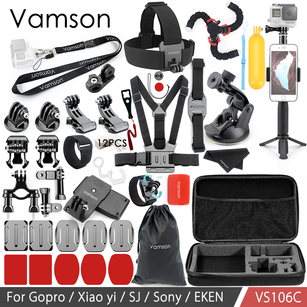 Vamson for Gopro Accessories Set for SJCAM Xiaomi yi Eken H9R For Yi 4K for Gopro Hero7 6 5 4S Neck Strap VS106 10pairs 12v 3a male plug female plug socket panel mount jack dc connector male female plugs 2 1mm x 5 5mm