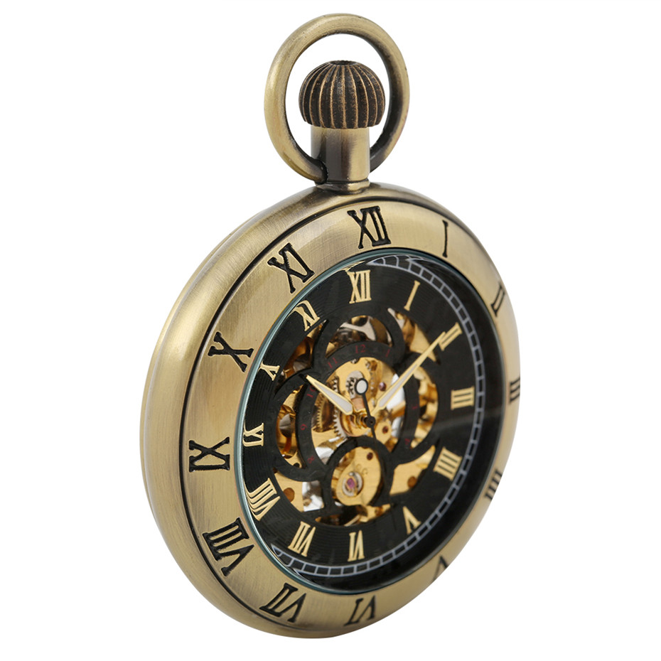 Bronze/Silver/Black Engraved Roman Numerals Design Mechanical Hand-Winding Pocket Watch Vintage Fashioned Fob Pocket Chain