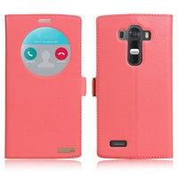 8 Renkler LG G4 H818 H815 H810 Için Hakiki deri telefon kapak Manyetik Yakın Gerçek İnek Cilt Flip Vaka görünüm pencere ücretsiz nakliye