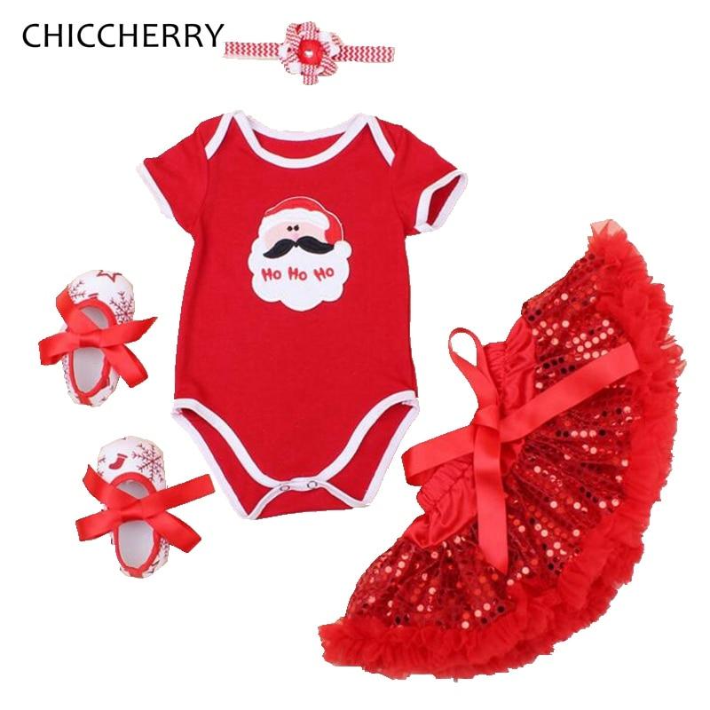 Santa Claus Baby Christmas Costumes Baby Girl Clothes Bodysuit Lace Skirt Headband Crib Shoes Newborn Tutu Sets Infant Clothing