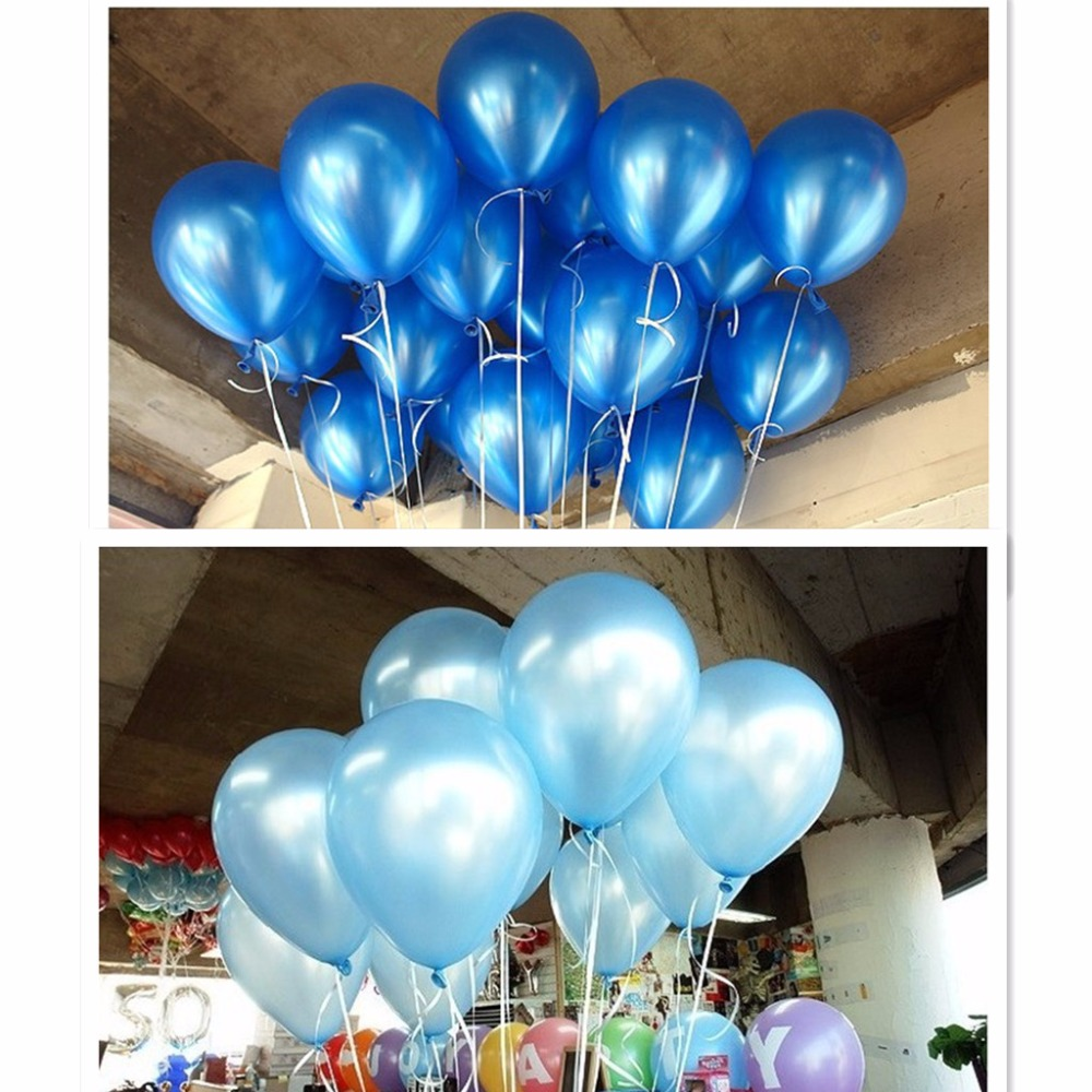 Cheap 50/100pcs 10'' 1.2g Blue&Skyblue Round Shape Latex Pearl Balloon Party Decorate Valentine's Day Birthday Wedding Decoratio-in Ballons & Accessories from Home & Garden