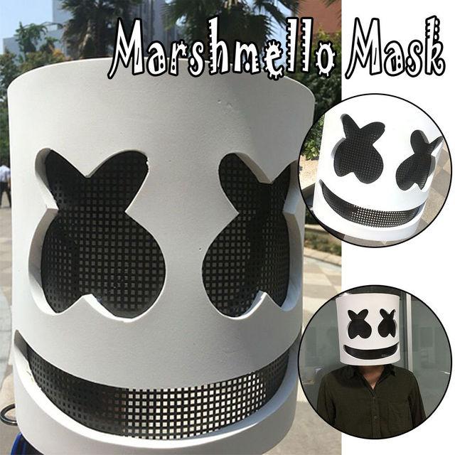 Marshmello Mask Cosplay LED Luminous Helmet Halloween Prop DJ Masks Party Props