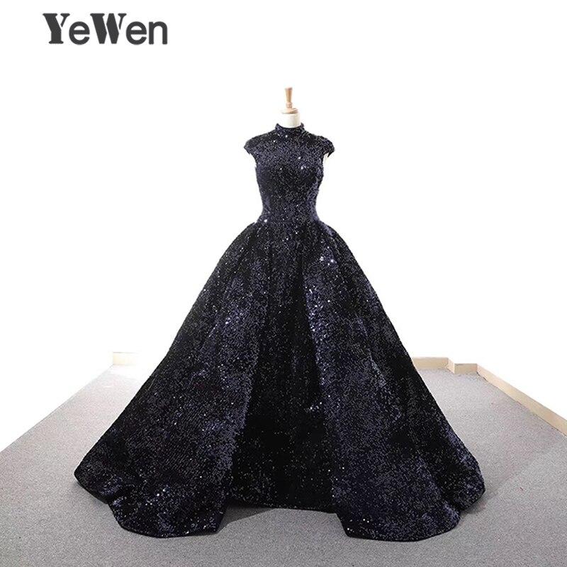 Халат De Soiree новый элегантный темно синие блестками вечернее платье 2018 длинные блестящие Высокий воротник Свадебная вечеринка платья