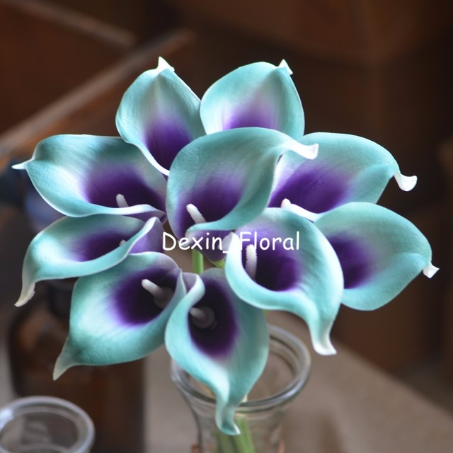 Teal Purple Picasso Calla Lilies Real Touch Flowers For Silk Wedding