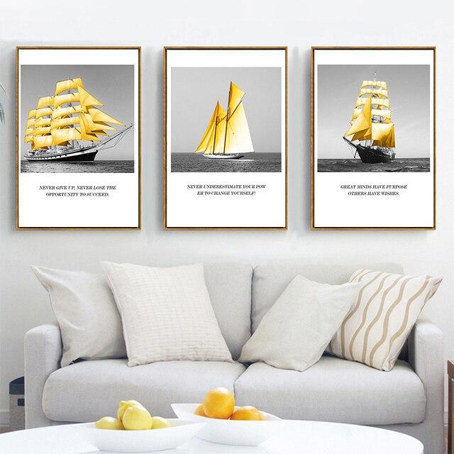HAOCHU Schwarz Weiß Ozean Gold Boot Motivations Englisch Brief ...