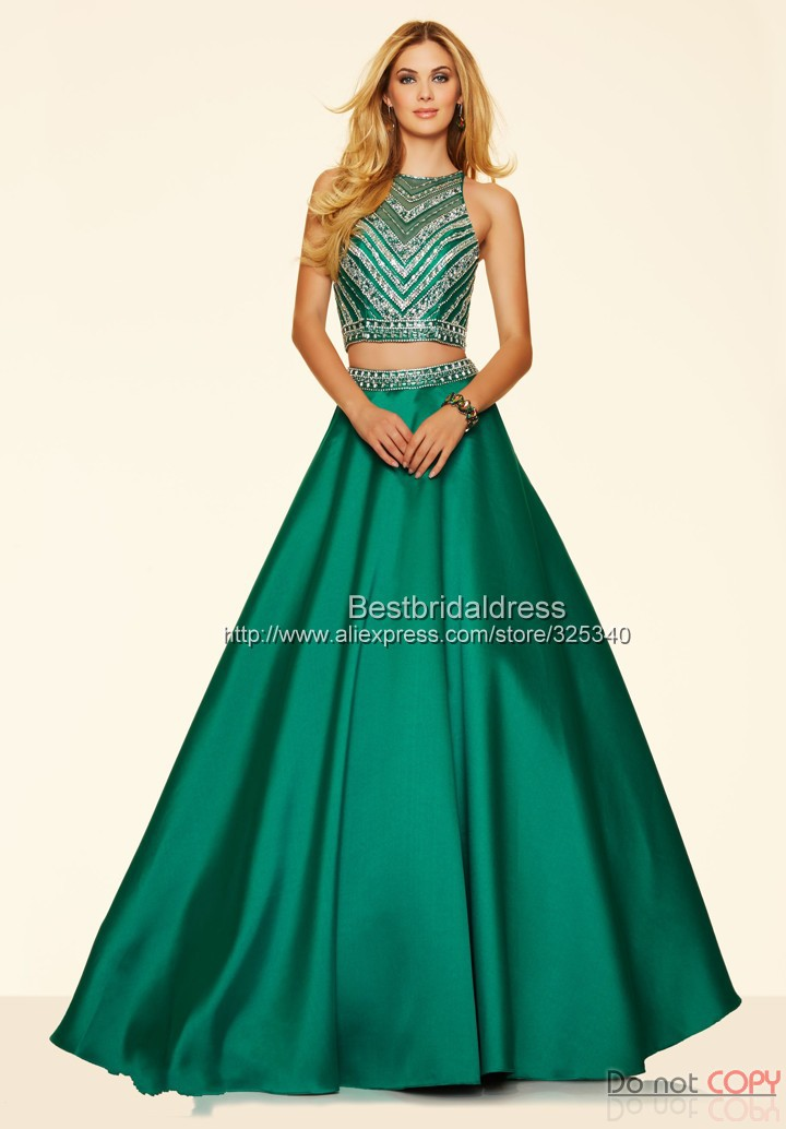 Delicate Beaded Crystal Crop Top A Line Emerald Green Two Piece Prom